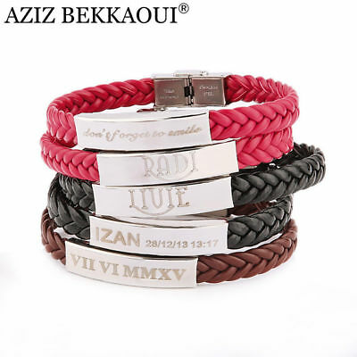 His&Hers DIY Logo Personalized Name Custom Engraving Lover Couple Bracelet Gifts