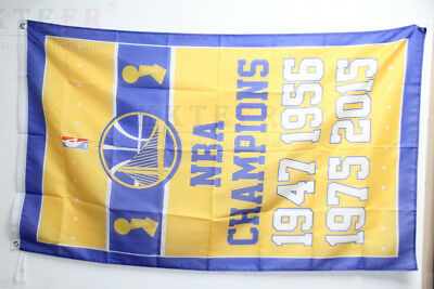 Large 150cm*90cm Yellow State Warriors NBA Champions flag 3X5 banner