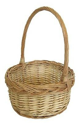 Round Willow Flower Girl Basket Small - Natural