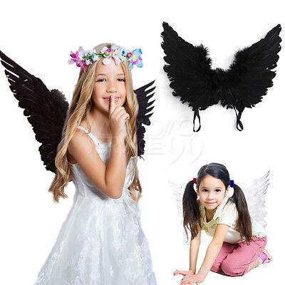 White/Black Cute Angel Wings Wand Halo Costume Adult Kids Halloween Party Dress