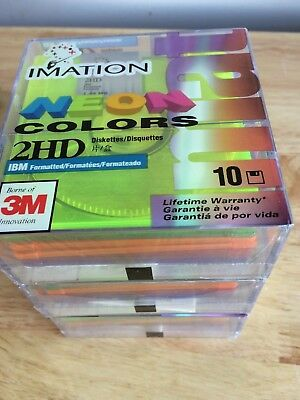 Imation Neon Colors 3M Diskettes 2HD ( 1 Lot of 30 )