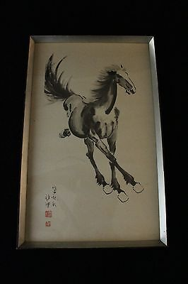 Chinese woodblock print by Hsu Pei-Hung with red seal calligraphy running Horse