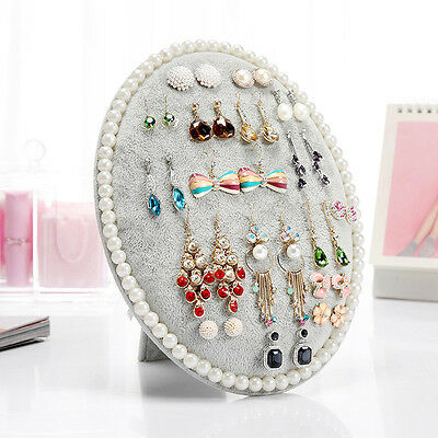 Oval Velvet Jewelry Earring Rack Bracelet Necklace Stand Organize Holder Display