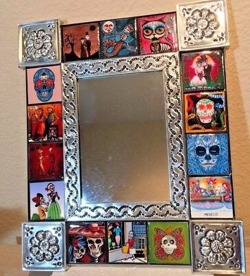 """Talavera MIRROR punched tin Day of the Dead Tile Mexican folk art pottery 12"""""""