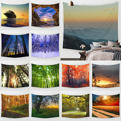 Forest  Landsca Tapestries Wall Hanging Tapestry  Hippie Throw Bedspread  Deco