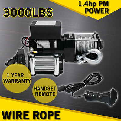 3000Lbselectric Winch  12V Heavy Duty Recovery Puller With Wireless Remote 4X4Wd