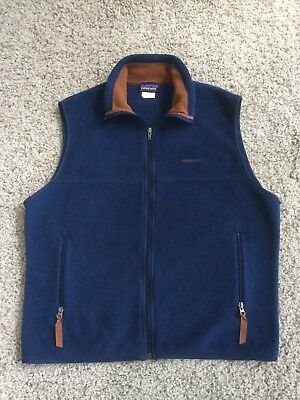 Patagonia Men's Synchilla Vest Full Zip Fleece Blue with Brown Size Large L