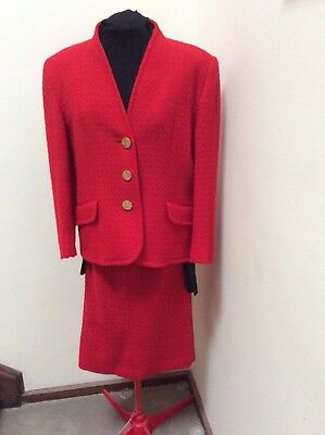 Aquascutum red boucle skirt suit size 16