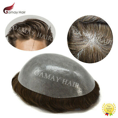 Mens Hairpiece Full Poly Mens Toupee Thin Skin PU Hair Replacements Natural Wigs
