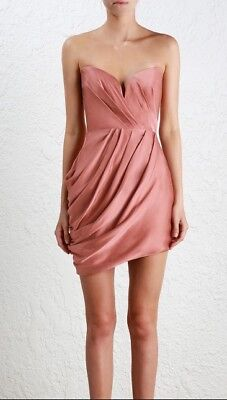 20c836f98ab1 Zimmermann Sueded Drape Bodice Dress | Rose Pink Bonded Strapless | $650 RRP
