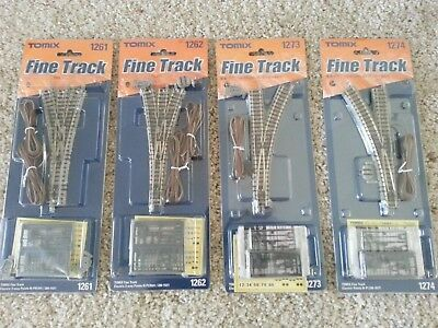 LOT of 4 Tomix Finetrack Electric Turnouts - 1261, 1262, 1273 & 1274 (N Scale)