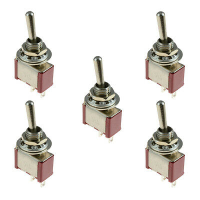 5 x On/Off Small Toggle Switch Miniature SPST 6mm - AC250V 3A 120V 5A Y3B6