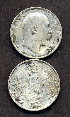 BRITISH INDIA  ONE RUPEE silver coin EDWUARD VII 1906 year