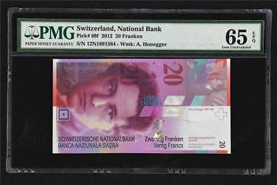 2012 Switzerland National Bank 20 Franken Pick#69f PMG 65 EPQ Gem UNC