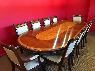 10.4Ft Designer Regency Style Mahogany / Burr Ash Dining Set French Polished