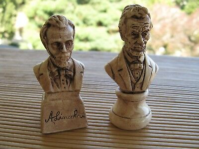 "2 VINTAGE RANDOTTI ""LINCOLN"" 3 INCH STATUES MARKED rj"