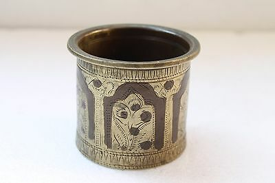 1800's Antique Hand Crafted Engraved Brass Panchpatra Holy Water Pot NH3095