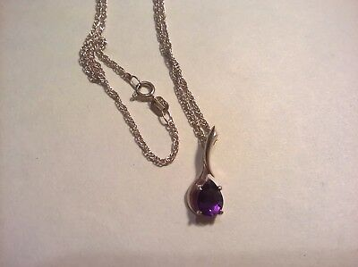 9ct solid yellow gold amethyst pendant and chain