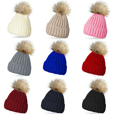 New Knitted Ribbed Beanie Bobble Hat Raccoon Fur Removable Multi Colour Pom Pom