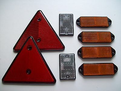 Trailer Reflector Kit with 6 rectangular reflectors and 2 triangles