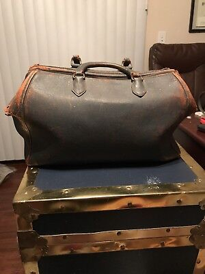 Antique Leather Doctor Bag Travel/Purse Size