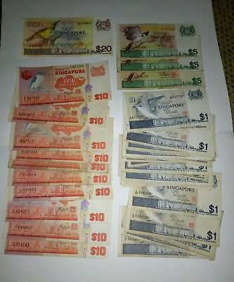 Singapore 318 Dollars Total. Ship And Bird Series. Vf To Vf+. Mix Lot.