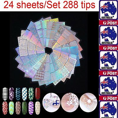 288 tips Nail Vinyls Stickers Stencils Holo Holographic Nail Art Manicure Decals