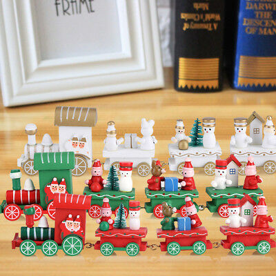 Christmas Little Wooden Train Decor Kids Toy Xmas Ornament Home Display Gift SS