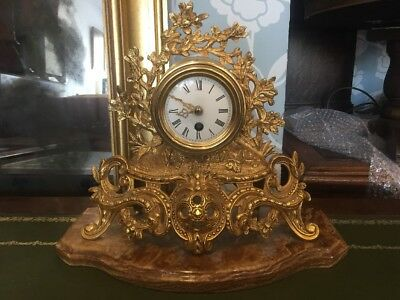 Antique French Style Brass Mantle Clock Marble Base Vintage FREE UK P&P🇬🇧
