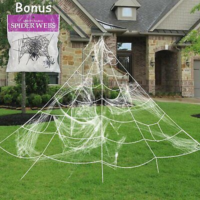 giant spider web with super stretch cobweb set halloween. Black Bedroom Furniture Sets. Home Design Ideas