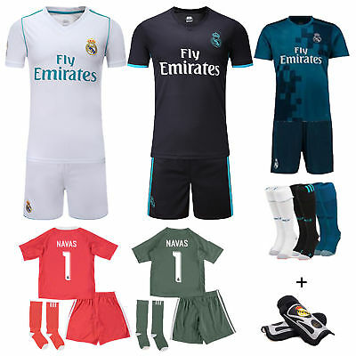 2017-18 Football Soccer Kids Boy Youth Short Sleeve Jersey Team Suit Kit+Kneepad