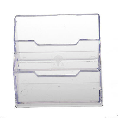 PF Desktop Business Card Holder Display Stand 2 compartments