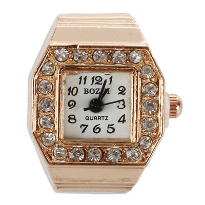PF Square Dial Crystal Decor Elastic Finger Ring Watch Copper Tone for