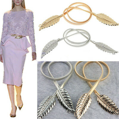 Fashion Women Metal Leaves Elastic Stretch Waist Belt Strap Cummerbund Waistband