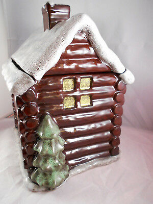 Snowy Log Cabin Cookie Jar and Lid Cottage Brown Boyds Home Lodge Evergreen Tree