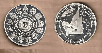 PORTUGAL 1991 1000 escudos  Silver PROOF  IBERO AMERICAN SERIES