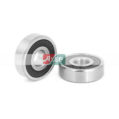 2 Pcs 6200RS Sealed Deep Groove Radial Ball Bearings 30mm x10mm x9mm Silver Tone