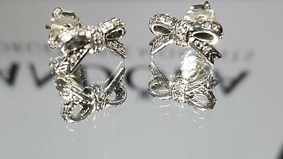 New Authentic Pandora Bow Earring/Studs S925 ALE #290555CZ