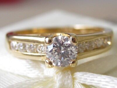 100% Genuine Sparkling 0.60ct Diamond 18K Solid Yellow Gold Engagement Ring