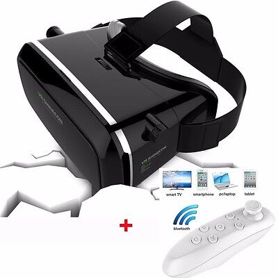 Universal 3D Virtual Reality VR Box Glasses Headset Helmet+Remote for iPhone UK
