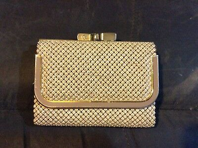 Authentic Vintage GLOMESH Purse/wallet Beige Flecked Tiles Gold Hardware
