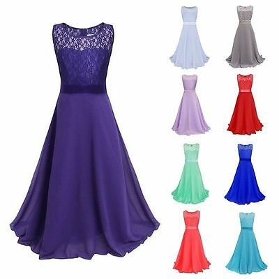 Long Chiffon Lace Evening Formal Party Ball Gown Prom Bridesmaid Dress Kid Girls