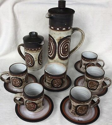 1970's Retro Briglin Swirl Design Coffee Pot, 5 Cups & Saucers, Sugar & Creamer