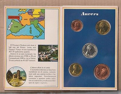 ANDORRA  OFICIAL FOLDER SET  1986 25 cts,  1,2,5,10 diners SILVER UNC