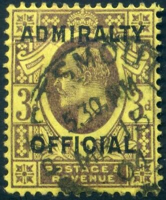 ADMIRALTY OFFICIAL 1904 KEVII 3d Dull Purple on Orange-yellow