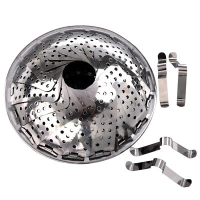 PF New 119g Silver Kitchen Folding Stainless Steel Mesh Holes Steam Basket Cooke