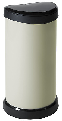 Curver 40 Litre Metal Effect One Touch Deco Bin, Ivory