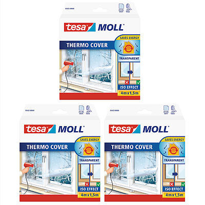 3 x tesamoll Fensterisolierfolie thermo cover, transparent