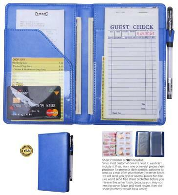 waiter book server wallet server pads waitress book restaurant waitstaff - Blue
