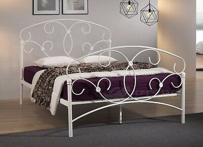 Atlas Double Metal Bed Frame White Victorian Style  Curly Classic King Size Beds